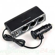 USB KFZ PKW LKW Auto Ladegerät Kabel Adapter 3 x Zigarettenanzünder 12V/24V/5V
