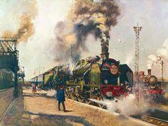 Premium Giclee Print: The Golden Arrow Art Print by Terence Cuneo by Terence Cuneo : Arrow Art, Railroad Pictures, Train Times, Train Art, Trains, Railway Posters, Vintage London, Steam Engine, Steam Locomotive