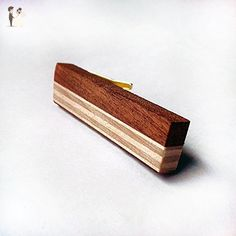 Minimalist striped wood tie clip - Groom cufflinks and tie clips (*Amazon Partner-Link)