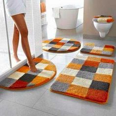 Orange and grey bathroom mat