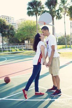 Basketball engagement photos--reminds me of Cheryl and Tyler!