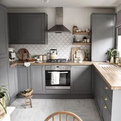 Create a country kitchen design with our Fairford Slate Grey kitchen cabinets. Are you looking for small kitchen ideas? Then look no further than small grey kitchen. Add solid wood worktops, a cermaic sink and fish scale tiles or scallop tiles. Country Kitchen Designs, Kitchen Room Design, Modern Kitchen Design, Home Decor Kitchen, Interior Design Kitchen, Very Small Kitchen Design, Designs For Small Kitchens, Small Kitchen Cabinet Design, Small House Kitchen Ideas