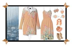 """Rainy Day Chic: """"Peach Spring Frost on Flowers"""" Fractals Set by artist4god-rose-santuci-sofranko on Polyvore featuring polyvore, fashion, style, Charlotte Olympia and Banana Republic. Please visit my website for info on purchasing my products and books. www.Artist4God.net Thank you & God bless!"""