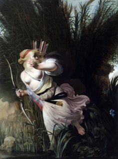 Caesar van Everdingen - The eternally lustful god of the woods and fields, Pan, has his sights set on the chaste nymph Syrinx, a follower of the goddess Diana. can 1640