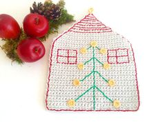 Crochet Christmas House HotPad Coaster by MonikaDesign on Etsy