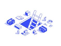 Down for Scheduled Maintenance by Justin W. Flat Illustration, Character Illustration, Graphic Design Illustration, Digital Illustration, Web Design, Design Art, Logo Design, Isometric Art, Isometric Design