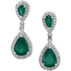 EFFY Emerald and Diamond Drop Earrings in 14K White Gold (€1.285) ❤ liked on Polyvore featuring jewelry, earrings, green, white gold drop earrings, diamond drop earrings, drop earrings, white gold earrings and emerald green earrings