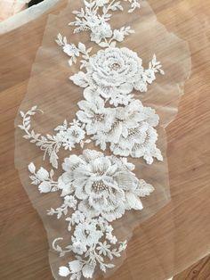Exquisite Cotton Lace Applique Cream EmbroideryWedding by lacetime