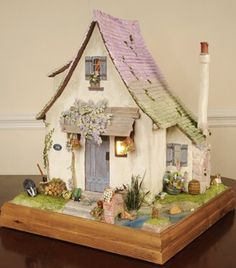 dollhouse in pastel colors with sloped roof    #dollhouse #miniatures <3