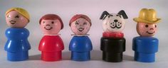 Fisher Price Little People Lot Cowboy Dog + 3 More! Vintage Free Shipping Retro #FisherPrice