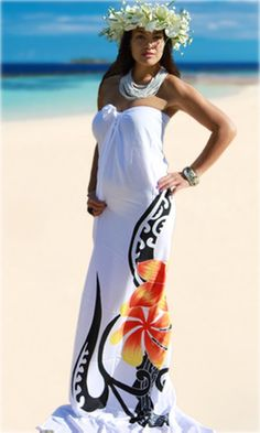 "White of the ""Toru Tiare Manutai"" collection by Ivanui. Polynesian Designs, Polynesian Culture, Tiare Tahiti, Samoan Dress, Tahitian Costumes, Island Style Clothing, Island Wear, Island Girl, Couture"
