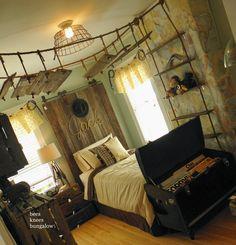Boy's Adventurer Bedroom - love it! Love the bookshelves