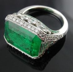 Edwardian Horizontal Emerald And Diamond Ring