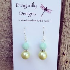 Opaque Mint Swarovski and Faux Spring Green by dragonflydesigns01, $14.00