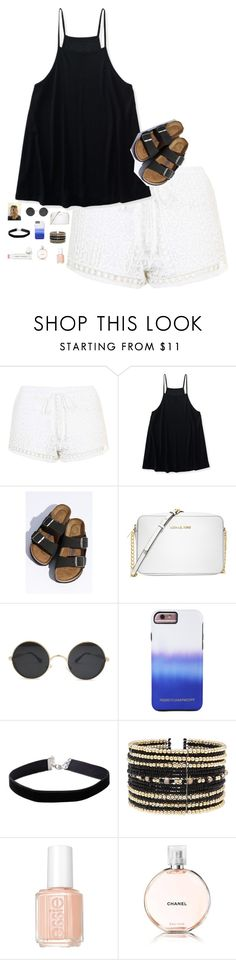 """Black and white⚫️⚪️"" by kitkatstyels ❤ liked on Polyvore featuring Topshop, Aéropostale, Birkenstock, Michael Kors, Rebecca Minkoff, Miss Selfridge, Eloquii, Essie, Chanel and Jane Iredale"