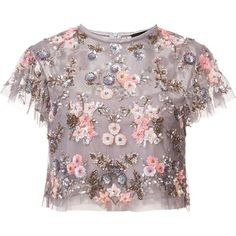 Needle & Thread floral embellishment cropped blouse ($440) ❤ liked on Polyvore featuring tops, blouses, pattern blouses, embellished tops, print top, print blouse and floral print crop top