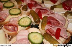 Pomazánka na obložené chlebíčky z vařených brambor Czech Recipes, Ethnic Recipes, Food 52, Tuna, Pesto, Zucchini, Sushi, Sausage, Appetizers
