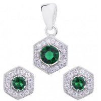 Strieborný set so zelenými zirkónmi Swarovski, Drop Earrings, Green, Jewelry, Jewlery, Jewerly, Schmuck, Drop Earring, Jewels