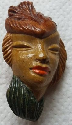 Vintage Rare Deco Ladies Face Brooch