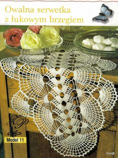 """Photo from album """"Moje robotki on Yandex. Crochet Books, Crochet Home, Lace Doilies, Crochet Doilies, Crochet Tablecloth, Animal Print Rug, Crochet Projects, Diy And Crafts, Crochet Patterns"""