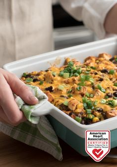 Chicken Tortilla Casserole — With this tasty dish, you can enjoy creamy, zesty layers of tortillas, chicken, beans, and corn without sacrificing a healthy diet! Heart-Check Certification does not apply to recipes or information reached through links unless expressly stated.