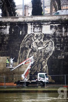 """Detail of """"Triumphs and Laments"""" by William Kentridge, Tevere Roma"""