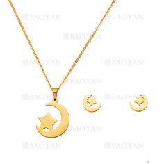 juego collar y aretes de estrella&luna en acero dorado inoxidable -SSNEG504219