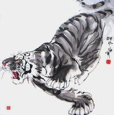 Chinese Tiger Painting 4695005 in chinese tiger drawing collection - ClipartXtras Tiger Sketch, Tiger Drawing, Tiger Painting, Tiger Art, Ink Painting, Japanese Painting, Chinese Painting, Tatoo Tiger, Japanese Tiger Tattoo