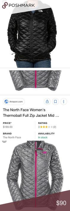 The North Face Women's ThermoBall Jacket Size small and black, very thin jacket which is perfect for the spring and fall or any weather that's less than 70 degrees honestly. This was my favorite jacket and my go to jacket because it was comfy and a light jacket. I'm really open with offers just let me know:) and pictures of the jacket will be updated in a few hours! The North Face Jackets & Coats