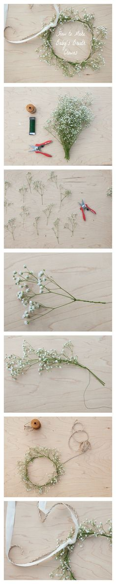 How to Make a Baby's Breath Crown. We may not use this idea, but I certainly like how it brings a touch of elegance. It's beautiful!