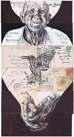 and breathe (with an exhale my soul had left)' Bic biro drawing on a collection of antique postcards. Mark Powell, Biro Drawing, Medusa Art, Gcse Art, Pen Art, Letter Art, Illustrations, Mail Art, Art Sketchbook