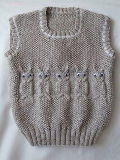 2016 Baby Boy Vest With Model - super koristelu ideoita Baby Boy Knitting Patterns, Knitting For Kids, Knitting Stitches, Knitting Designs, Knit Patterns, Free Knitting, Knitting Buttonholes, Cardigan Bebe, Crochet Cardigan