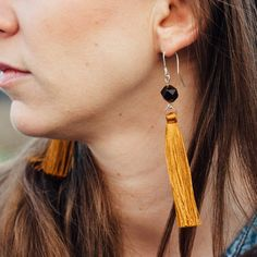 Ochre Brown Long Dangle Tassel Earrings, Christmas Gift for Girlfriend Wedding Gifts For Bridesmaids, Brides And Bridesmaids, Long Tassel Earrings, Statement Earrings, Christmas Gifts For Girlfriend, Modern Bohemian, Bohemian Style, Stone Beads, Silver Color