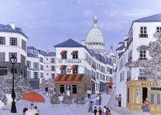 Tableau naïf. Granick. Le Consulat à Montmartre 2