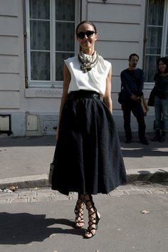 Looking ladylike, except for those fierce lace-ups. #PFW