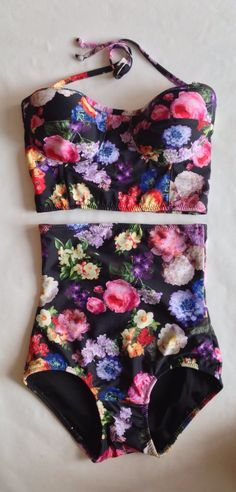 Floral high waist bikini is made out of the sweetest floral printed nylon/spandex. Extra high waist bikini is fully lined with powernet lining for a