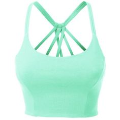 LE3NO Womens Fitted Halter Cut Out Back Bralette Crop Top with Stretch ❤ liked on Polyvore featuring tops, layered tops, green halter top, cut out back tops, halter crop top and cutout tops