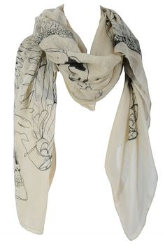 Sketchbook Printed Beige and Charcoal Scarf    www.lilyboutique.com
