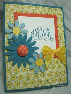 Blossom Party and Summer Smooches punch art Get Well card
