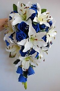 Teardrop Wedding Bouquet Ivory Lillies Royal Blue Roses Pearl Sprays | eBay gorg! Maybe some orange tiger Lillie's mixes in as well Note to self: burlap and blue bow