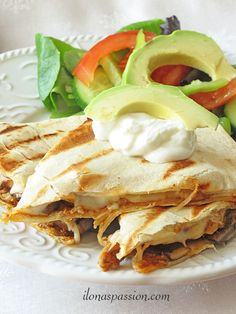 Easy Pork Quesadillas... Quick and easy to make pork quesadillas with gooey cheese topping. Easy pork quesadillas with mushrooms and cheese are perfect for everyday dinner. It can be perfectly served as weekday dinner, appetizer or any party gathering!