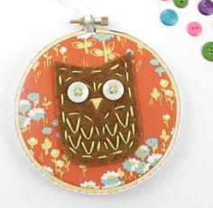 Felt Owl Embroidery Hoop Wall Art Nursery Decor Brown Lime Coral Teal by lovahandmade on Etsy