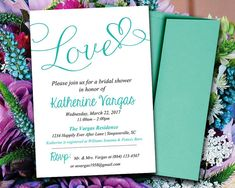 """Bridal Shower Invitation Template - Tiffany Blue Teal """"Love"""" Heart - Instant Download Calligraphy Invitation - Bridal Luncheon Template by PaintTheDayDesigns, $10.00"""