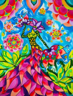 """Hand painted silk painting, in the series """"In the Garden"""" Designed and created in my home studio on Caye Caulker, Belize where I have lived for the past 15 years. Caye Caulker Belize, Different Art Styles, Aluminium Sheet, Got Print, Silk Painting, Any Images, Fine Art America, Greeting Cards, Hand Painted"""