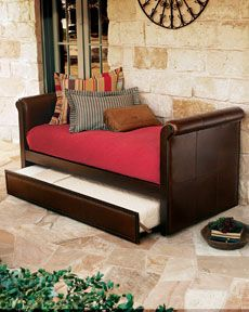 """Extra bed for guests plus place to read F9369 """"Ethan"""" Leather Daybed with Trundle"""