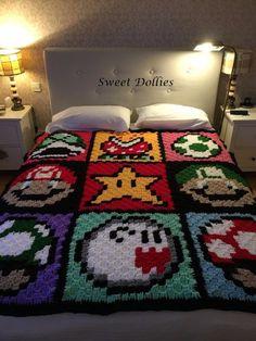 Best Ideas For Crochet Mantas Estrella Mario Crochet, Crochet Game, C2c Crochet, Crochet Quilt, Crochet Blanket Patterns, Crochet Gifts, Pixel Crochet Blanket, Crochet Blankets, Crochet For Beginners Blanket