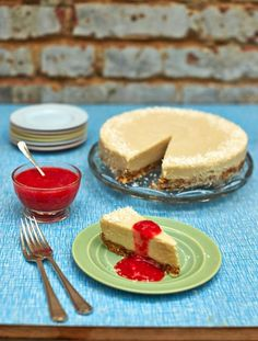 Dairy-free coconut cheesecake with strawberry drizzle.  With a gorgeous nutty base, sweet coconut & vanilla topping and a strawberry drizzle, this is incredible!