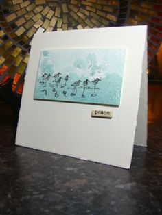 handmade sympathy card by girlgeek101  ...clean and simple small watercolor paper panel ... aqua water look with acrylic block technique ... shorebirds from Wetlands .. beautiful card ... Stampin'Up!