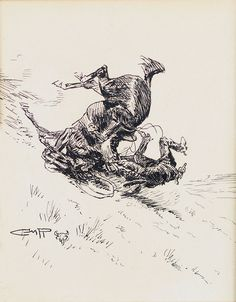 "Jackson Hole Art Auction: ""Horse and Cowboy Tumbling Downhill"" pencil by Charles Russell"
