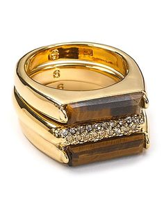 Michael Kors Tigers Eye and Pavé Bar Stackable Rings - Jewelry & Accessories - Bloomingdale's